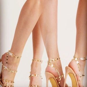 Clear Heels with gold studs